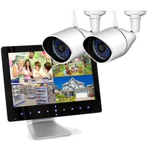 "720P HD Digital Wireless 2 Camera CCTV System with 9"" LCD Monitor DVR"