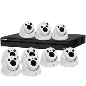 Dahua 4MP 120dB WDR 16Ch System with 10 x HD CVI 60M IR Motorised Zoom Cameras (White)