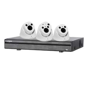 Dahua 4MP 120dB WDR 4 Channel System with 4 x HD CVI 60M IR Motorised Zoom Cameras (White)