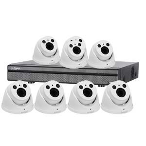 Dahua 4MP 120dB WDR 8 Channel System with 8 x HD CVI 60M IR Motorised Zoom Cameras (White)