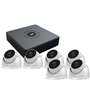 1080P Lite HiWatch by Hikvision 8Ch Kit with 6 x Ultra Low Light Motorised Zoom Turret Cameras