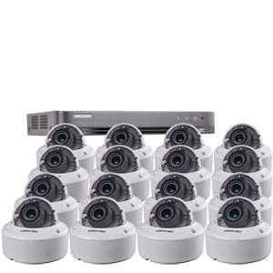 3MP Hikvision 16Ch Kit with 16 x HD TVI 40M IR Motorised Zoom IK10 Dome Cameras