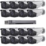 1080P Ultra Low Light Hikvision 16Ch System with 16 x HD TVI 40M IR Motorised Zoom Bullet Cameras