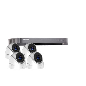 8MP Ultra Low Light Hikvision 4Ch Kit with 4x Wide Angle HD TVI 60M IR Turret Cameras