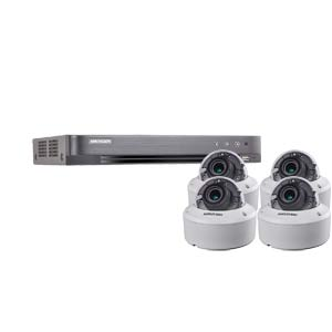 3MP Hikvision 4Ch Kit with 4 x HD TVI 40M IR Motorised Zoom IK10 Dome Cameras