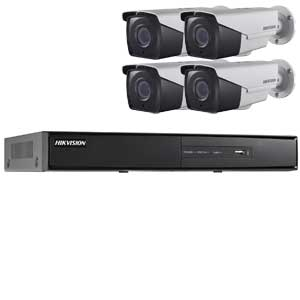 1080P Hikvision 4Ch System with 4 x HD TVI 40M IR Motorised Zoom Bullet Cameras