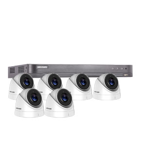 8MP Ultra Low Light Hikvision 8Ch Kit with 6x Wide Angle HD TVI 60M IR Turret Cameras