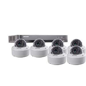 3MP Hikvision 8Ch Kit with 6 x HD TVI 40M IR Motorised Zoom IK10 Dome Cameras