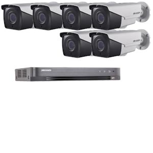 1080P Ultra Low Light Hikvision 8Ch System with 6 x HD TVI 40M IR Motorised Zoom Bullet Cameras