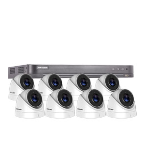 8MP Ultra Low Light Hikvision 8Ch Kit with 8x Wide Angle HD TVI 60M IR Turret Cameras