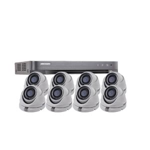 1080P Ultra Low Light Hikvision 8Ch Kit with 8 x Wide Angle HD TVI 20M IR Dome Cameras