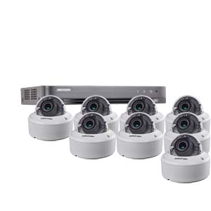 3MP Hikvision 8Ch Kit with 8 x HD TVI 40M IR Motorised Zoom IK10 Dome Cameras