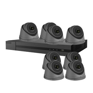 4.0MP HiLook by Hikvision 8 Channel IP CCTV System with 8 Turret Cameras in  Grey