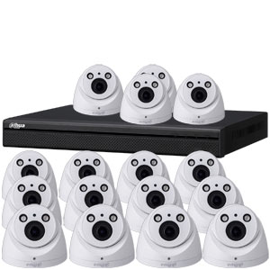 Dahua 4MP 120dB WDR 16Ch IP CCTV System with 16 Motorised Zoom Dome Cameras