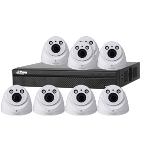 Dahua 4MP 120dB WDR 8Ch IP CCTV System with 8 Motorised Zoom Dome Cameras