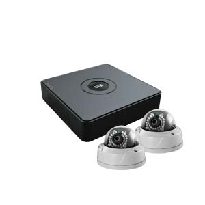 2 MegaPixel / 1080P HiWatch by Hikvision 4 Channel IP CCTV Kit with 2 IK10 Vandal Dome Cameras