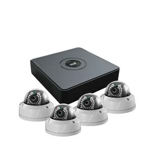 2 MegaPixel / 1080P HiWatch by Hikvision 4 Channel IP CCTV Kit with 4 IK10 Vandal Dome Cameras