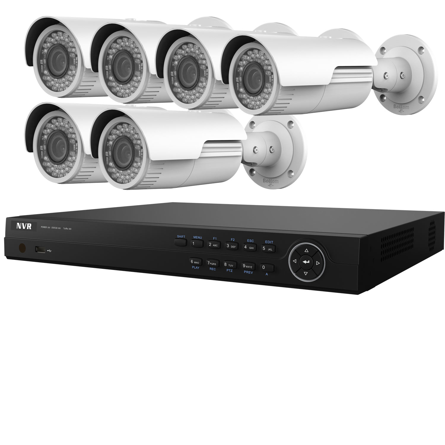 4MP WDR HiWatch by Hikvision 8Ch IP CCTV System with 6 Motorised Zoom  Bullet Cameras