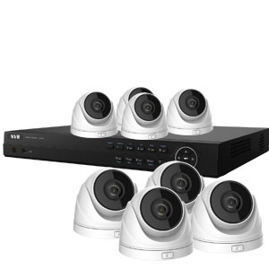 4.0MP WDR HiWatch by Hikvision 8Ch IP CCTV System with 8 Motorised Zoom Turret Cameras