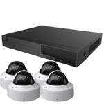 OYN-X 5MP Motorised Zoom IK10 Vandal Dome 4 Camera IP CCTV Kit