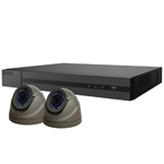 1080P HiWatch by Hikvision 4Ch HD-TVI CCTV Kit with 2x Grey Vari-Focal Dome Camera with 40M IR