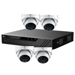 Oyn-x Eagle 4Ch IP CCTV Kit with 4x 4MP 24/7 Colour View Fixed Lens PoE Network Turret White Camera with Built in Mic