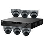 Oyn-x Eagle 8Ch IP CCTV Kit with 6x 4MP 24/7 Colour View Fixed Lens PoE Network Turret Grey Camera with Built in Mic