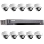 Hikvision 16Ch 1080P HD-TVI CCTV Kit with 10x Ultra Low Light IK10 Vandal Dome Camera with 20M EXIR Night Vision