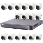 "Hikvision ""ColorVu"" 16Ch Turbo HD-TVI CCTV Kit with 16x 5MP Full Time Colour Turret Camera"