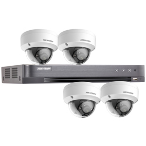 Hikvision 4Ch 1080P HD-TVI CCTV Kit with 4x Ultra Low Light IK10 Vandal Dome Camera with 20M EXIR Night Vision