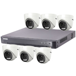 "Hikvision ""ColorVu"" 8Ch Turbo HD-TVI CCTV Kit with 6x 5MP Full Time Colour Turret Camera"