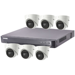 Hikvision 8Ch Turbo HD-TVI CCTV Kit with 6x 5MP Ultra Low Light Fixed Turret Camera