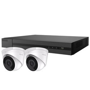 2MP HiLook by Hikvision 4ch H.265 IP CCTV Kit with 2x 1080P IR Turret Network Cameras with Audio