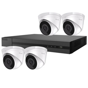 2MP HiLook by Hikvision 4ch H.265 IP CCTV Kit with 4x 1080P IR Turret Network Cameras with Audio