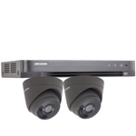 "Hikvision 4Ch ""Power over Coax"" HD-TVI CCTV Kit with 2x 5MP Grey Turret Camera with 40M EXIR Night Vision"