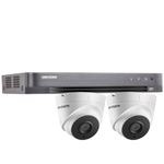 "Hikvision 4Ch ""Power over Coax"" HD-TVI CCTV Kit with 2x 5MP Turret Camera with 40M EXIR Night Vision"