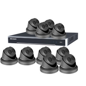 8MP 120dB WDR Hikvision 16 Channel IP CCTV System with 10 x 30m EXIR 4K Turret Cameras (EasyIP 3.0/ Grey)