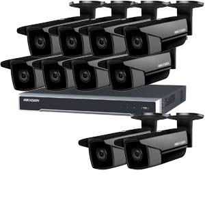 5MP 120dB WDR Hikvision 16 Channel IP CCTV System with 10 x 50m EXIR 5MP Bullet Cameras in Black