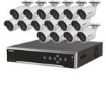 8MP 120dB WDR Hikvision 32 Channel IP CCTV System with 16 x 30m 4K Mini Bullet Cameras (EasyIP 3.0)