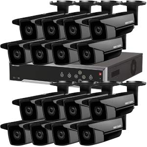 5MP 120dB WDR Hikvision 32 Channel IP CCTV System with 16 x 50m EXIR 5MP Bullet Cameras in Black
