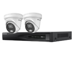 Hikvision 4Ch IP CCTV Kit with 2x ColorVu 4MP Full Time Colour Turret Audio Camera with Built in Mic