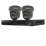 Hikvision 4Ch IP CCTV Kit with 2x Dark Fighter 6MP 120dB WDR IP Grey Turret Camera