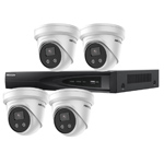 Hikvision 4Ch IP CCTV Kit with 4x DarkFighter AcuSense 4MP IR Turret Network Camera with built in Mic
