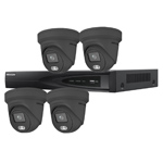 Hikvision 4Ch IP CCTV Kit with 4x ColorVu 4MP Full Time Colour Grey Turret Audio Camera with Built in Mic