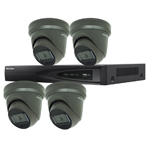 Hikvision 4Ch IP CCTV Kit with 4x Dark Fighter 6MP 120dB WDR IP Grey Turret Camera