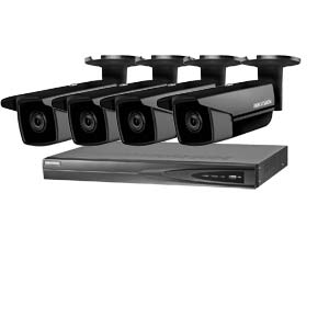 5MP 120dB WDR Hikvision 4 Channel IP CCTV System with 4 x 50m EXIR 5MP Bullet Cameras in Black