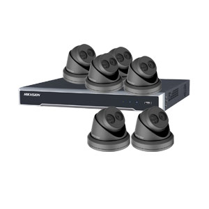8MP 120dB WDR Hikvision 8 Channel IP CCTV System with 6 x 30m EXIR 4K Turret Cameras (EasyIP 3.0/ Grey)