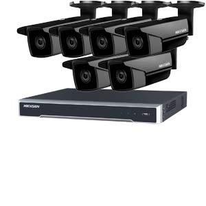 5MP 120dB WDR Hikvision 8 Channel IP CCTV System with 6 x 50m EXIR 5MP Bullet Cameras in Black