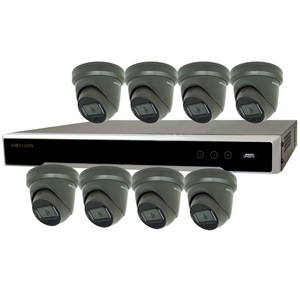 Hikvision 8Ch IP CCTV Kit with 8x Dark Fighter 6MP 120dB WDR IP Grey Turret Camera
