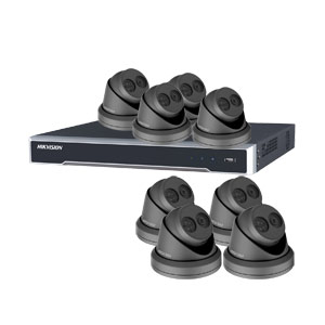 8MP 120dB WDR Hikvision 16 Channel IP CCTV System with 8 x 30m EXIR 4K Turret Cameras (EasyIP 3.0/ Grey)